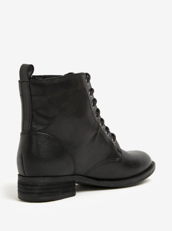 Čierne dámske kožené členkové topánky ALDO Keeler