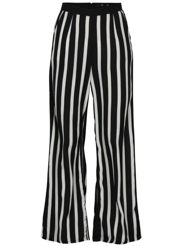 Bielo-čierne pruhované voľné nohavice MISSGUIDED