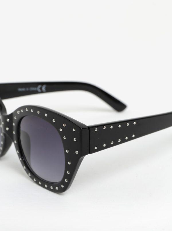 Čierne slnečné okuliare s plastickými bodkami v striebornej farbe MISSGUIDED
