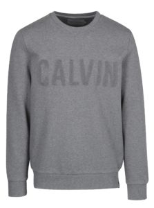 Sivá mikina s výšivkou Calvin Klein Jeans
