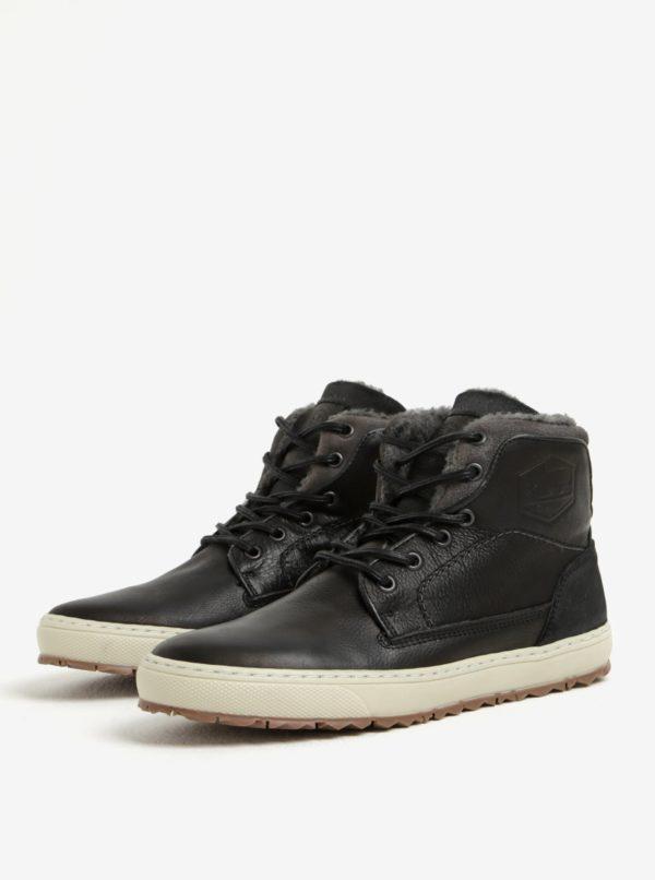 Sivo-čierne pánske kožené členkové zimné topánky Bullboxer  3896bec5fa1