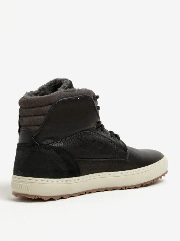 Sivo-čierne pánske kožené členkové zimné topánky Bullboxer  1c13a6a87fb