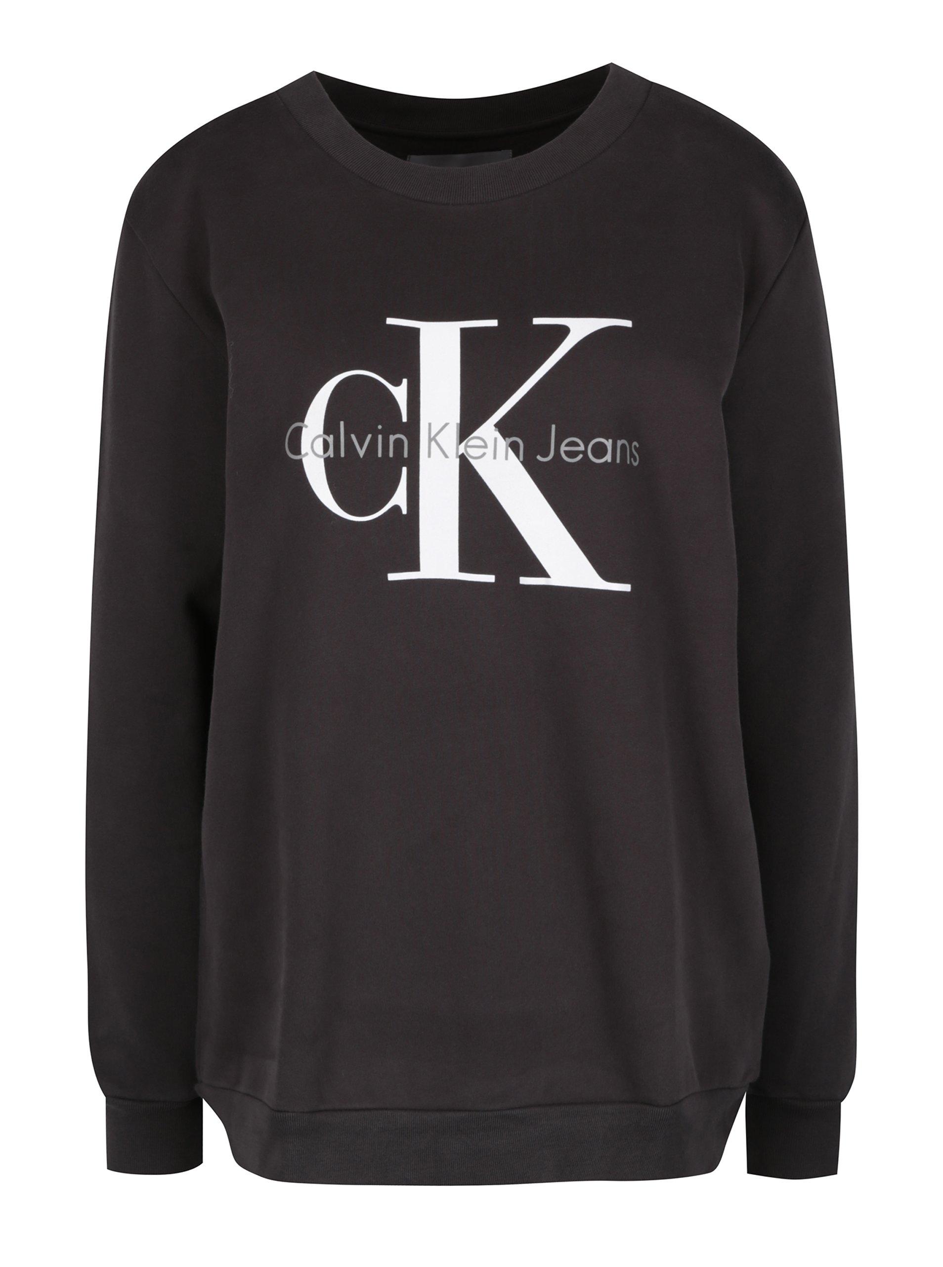 3676269c7ae5b Tmavosivá dámska mikina s potlačou Calvin Klein Jeans Crew | Moda.sk
