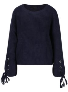 Tmavomodrý sveter so šnurovaním na rukávoch TALLY WEiJL