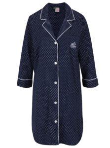Tmavomodrá bodkovaná nočná košeľa Lauren Ralph Lauren Heritage