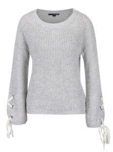 Sivý sveter so šnurovaním na rukávoch TALLY WEiJL
