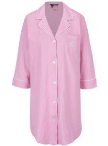 Ružová bodkovaná nočná košeľa s golierikom Lauren Ralph Lauren Heritage