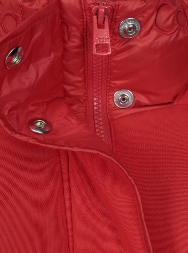 Červená dámska zimná páperová bunda Calvin Klein Jeans Ocoon