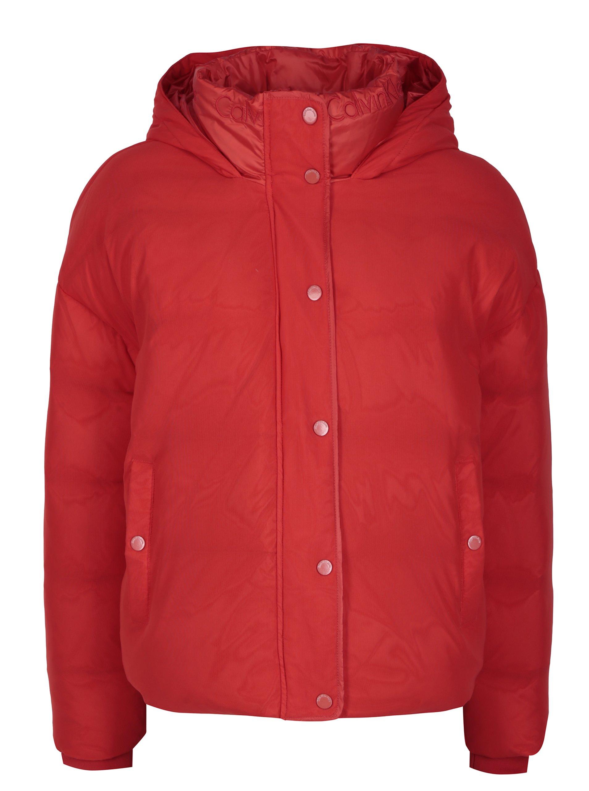 Červená dámska zimná páperová bunda Calvin Klein Jeans Ocoon  f46e6da224c