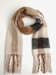 Hnedý šál so strapcami ONLY Azur