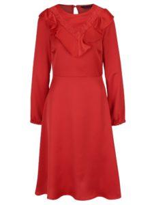 Červené šaty s volánmi a dlhým rukávom Dorothy Perkins