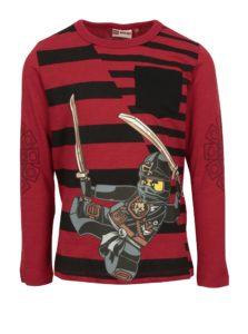 Čierno–červené chlapčenské tričko s potlačou a vreckom Lego Wear Teo