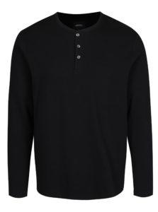 Čierne tričko s dlhým rukávom a gombíkmi Burton Menswear London