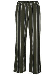 Tmavozelené pruhované nohavice VILA Sesilla