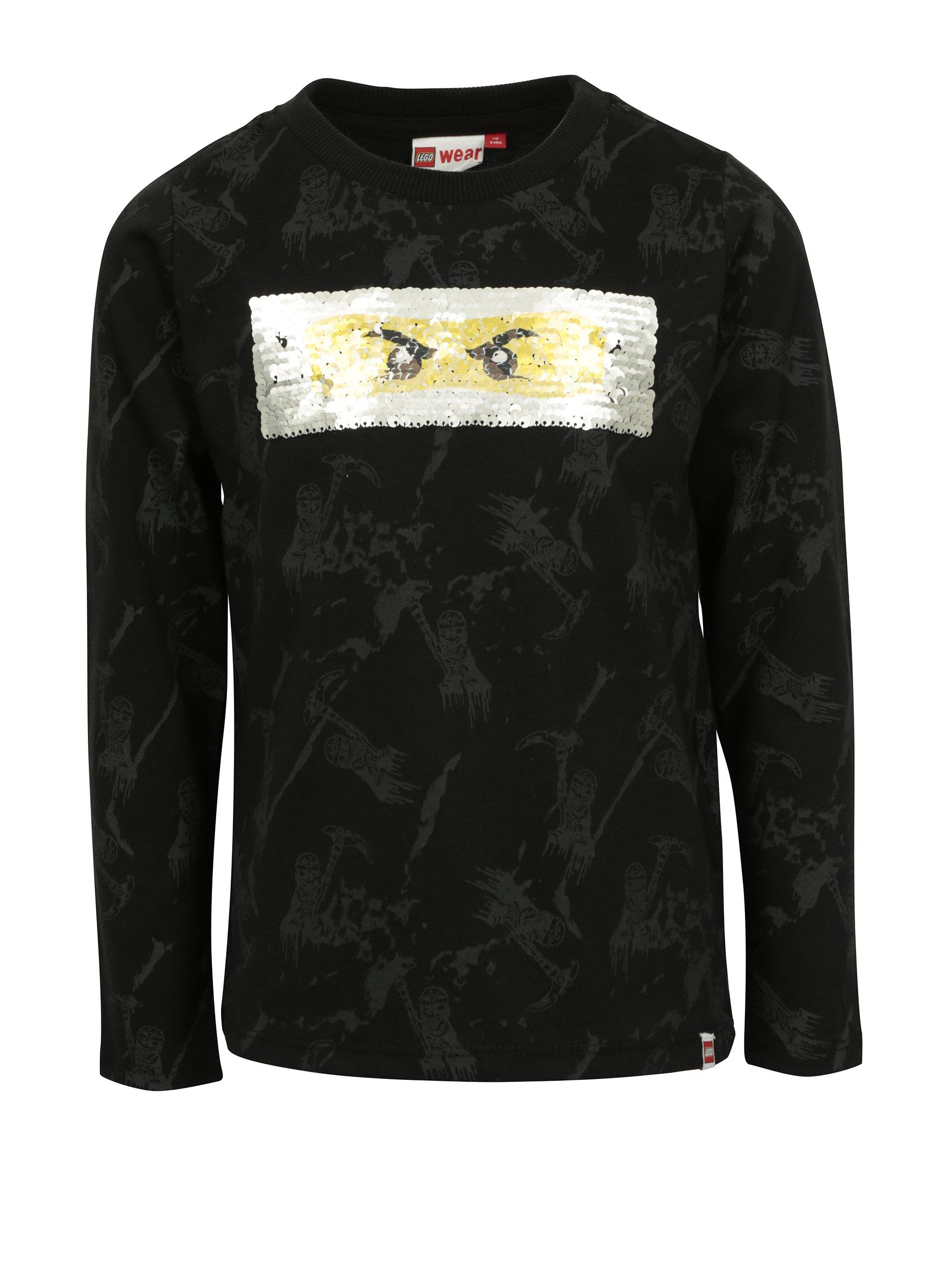 acf28734531e Čierne chlapčenské tričko s flitrami Ninjago potlačou Lego Wear Teo ...
