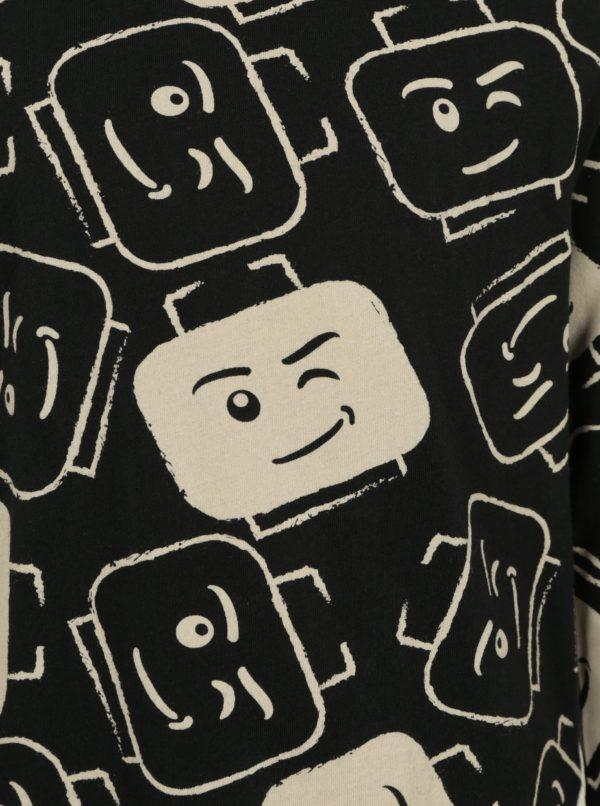 Béžovo–čierne chlapčenské tričko s potlačou Lego Wear Teo