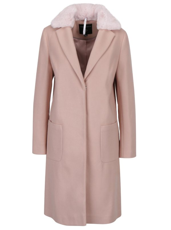 Staroružový kabát s umelou kožušinou Dorothy Perkins