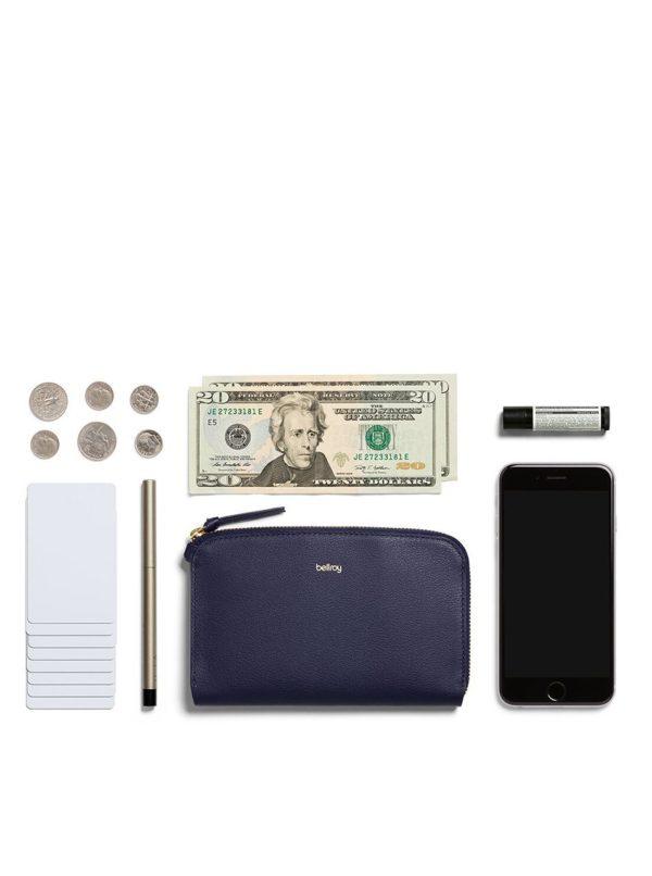 Tmavomodrá dámska kožená peňaženka Bellroy Pocket