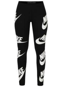 Čierne dámske legíny s potlačou Nike