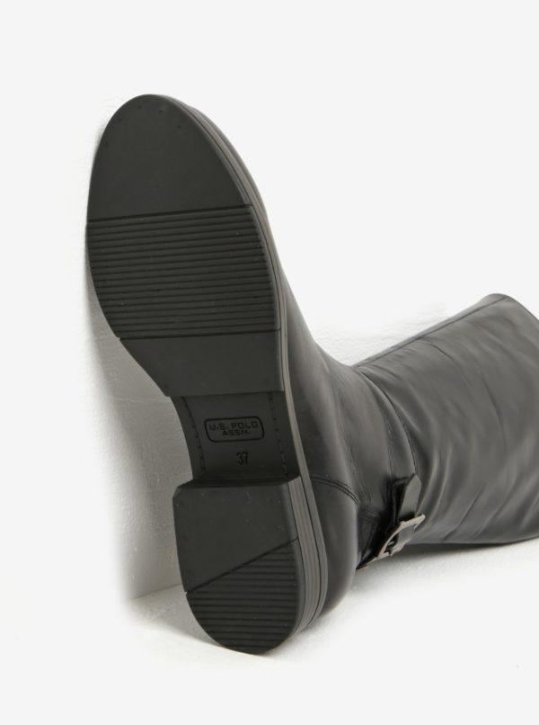 Čierne kožené čižmy s prackou U.S. Polo Assn.