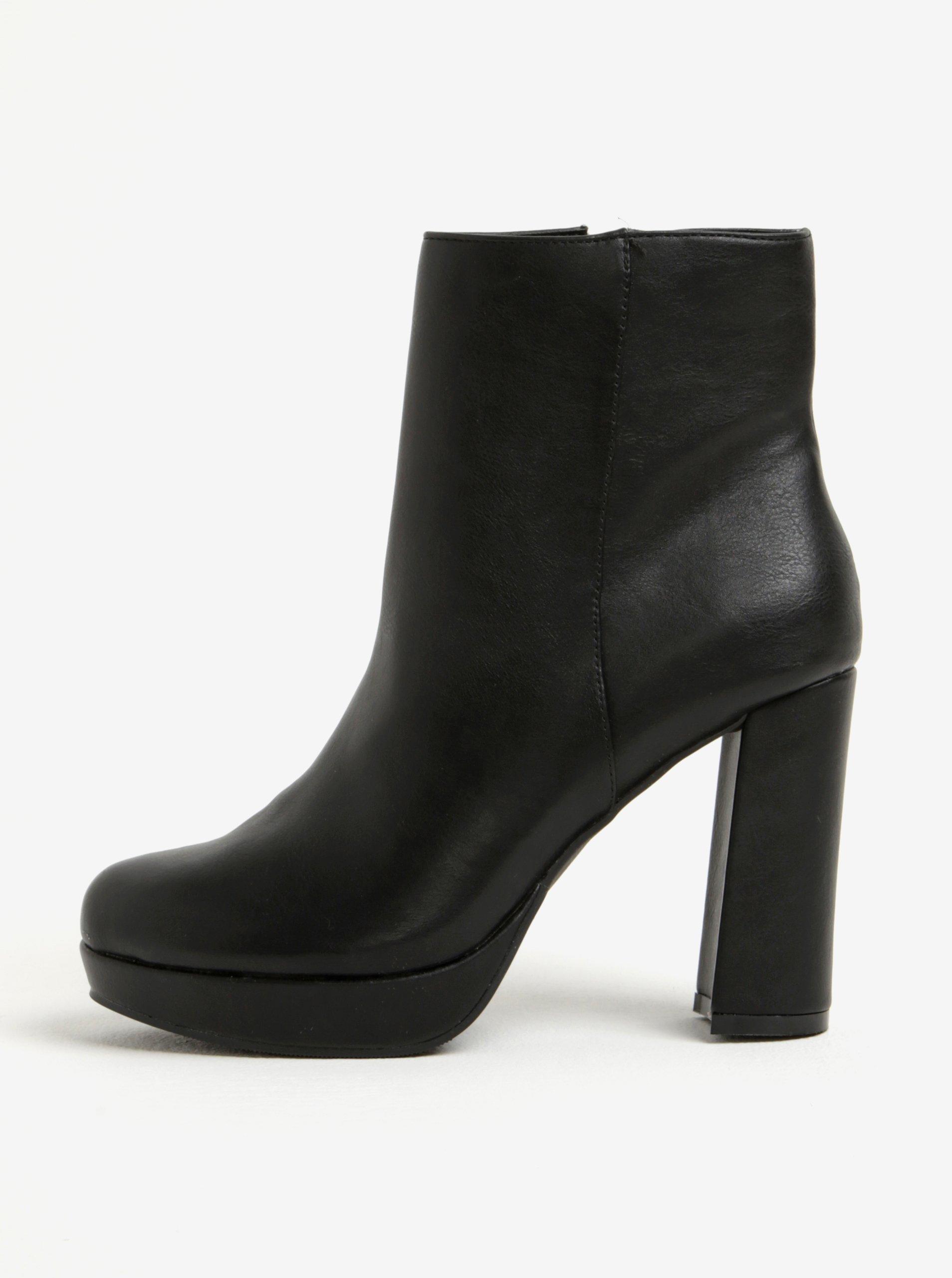 1c980a1a7168 Čierne členkové topánky na širokom podpätku Dorothy Perkins
