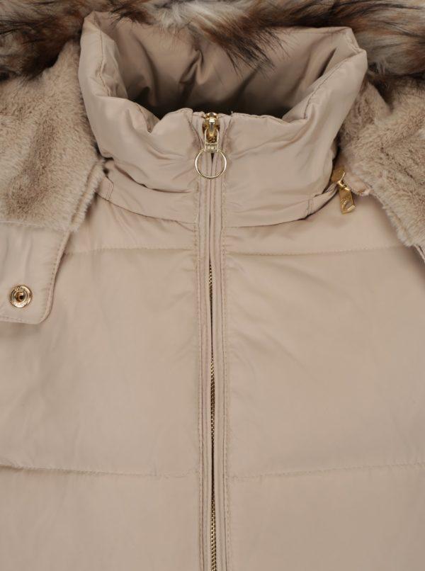 Béžová prešívaná páperová bunda s umělým kožúškom ONLY Rhoda