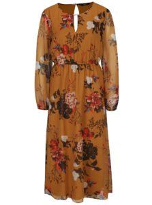 Horčicové kvetinové šaty ONLY Oda