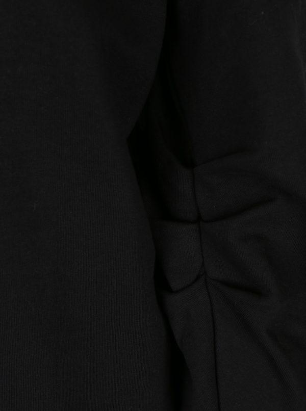 Čierna mikina s potlačou a nariasenými rukávmi ONLY Beatrice
