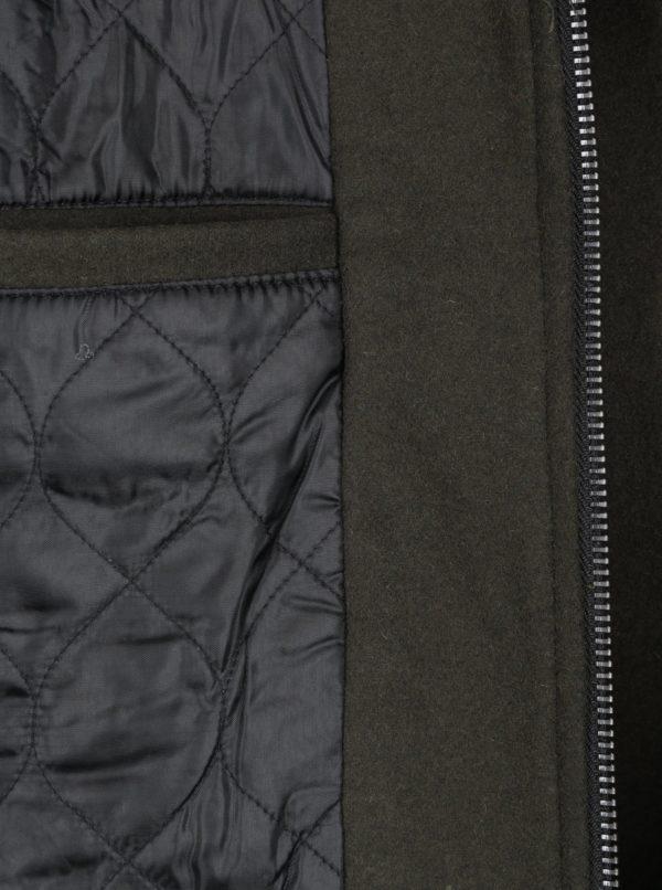 Kaki zimná vlnená bunda s umelou kožušinou ONLY & SONS Simon