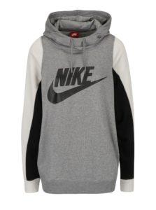 Sivá melírovaná dámska mikina s potlačou a kapucňou Nike