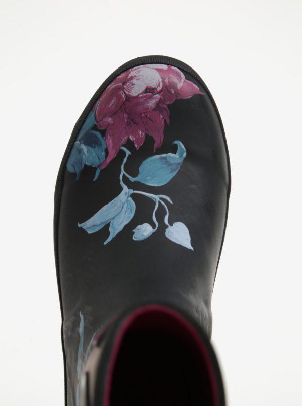 Ružovo–čierne dámske vodovzdorné čižmy s kvetovanou potlačou Tom Joule MollyWelly