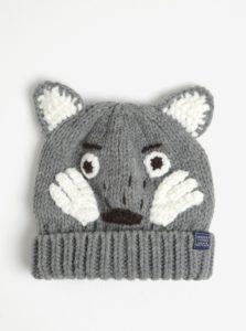 Sivá detská čiapka s motívom vlka Tom Joule