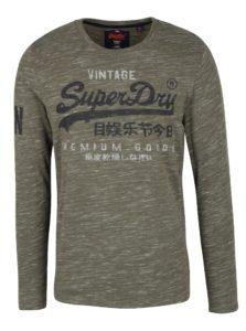 Kaki pánske melírované tričko s dlhým rukávom Superdry Premium