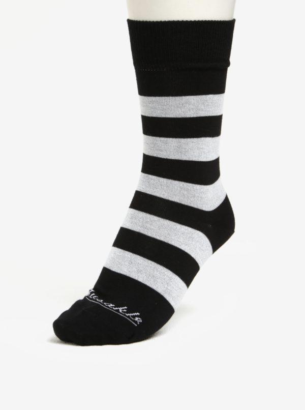 Súprava dvoch unisex ponožiek s pruhmi a bodkami Fusakle Guľkopásik ČB