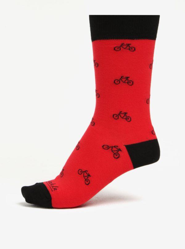Červeno-čierne unisex ponožky s motívom bicyklov Fusakle Cyklista