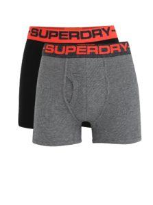 Súprava dvoch boxeriek v sivej a čiernej farbe Superdry Sport