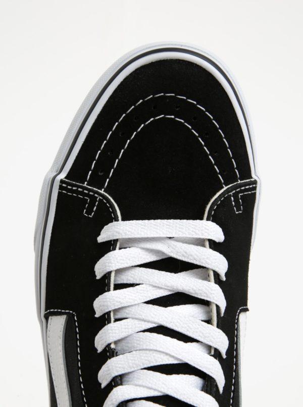 Čierno-biele pánske semišové členkové tenisky VANS SK8-Hi