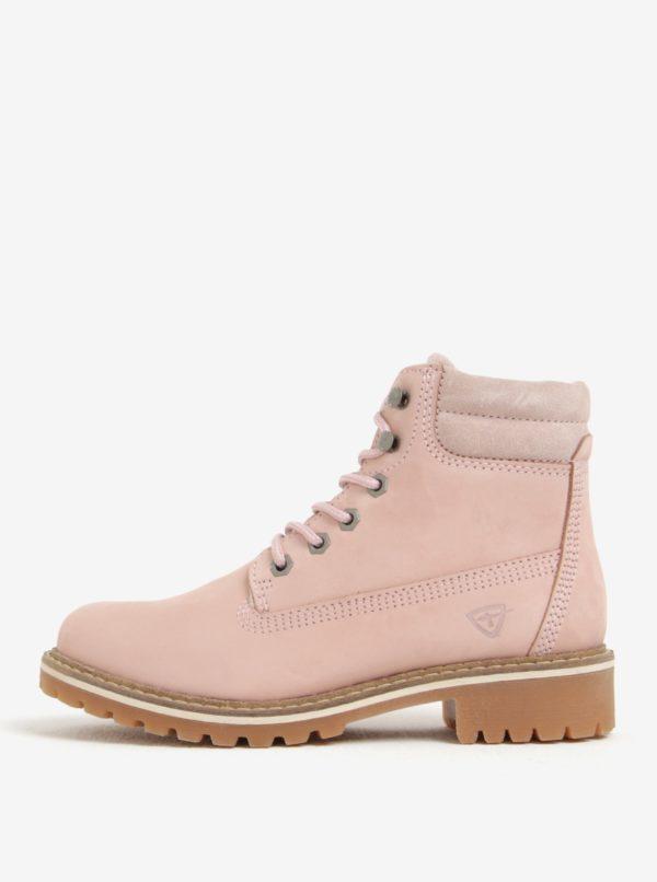 Svetloružové kožené členkové topánky Tamaris