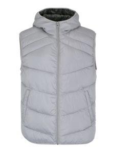 Svetlosivá prešívaná vesta s kapucňou Jack & Jones Landing