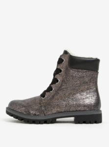 Tmavosivé metalické členkové topánky Tamaris