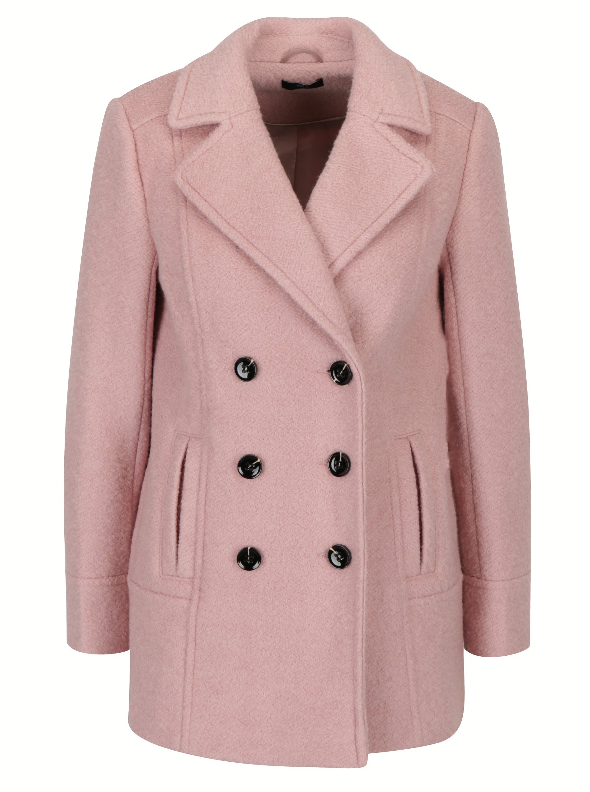 Svetloružový vlnený kabát M Co  e8f0bbfcd3a