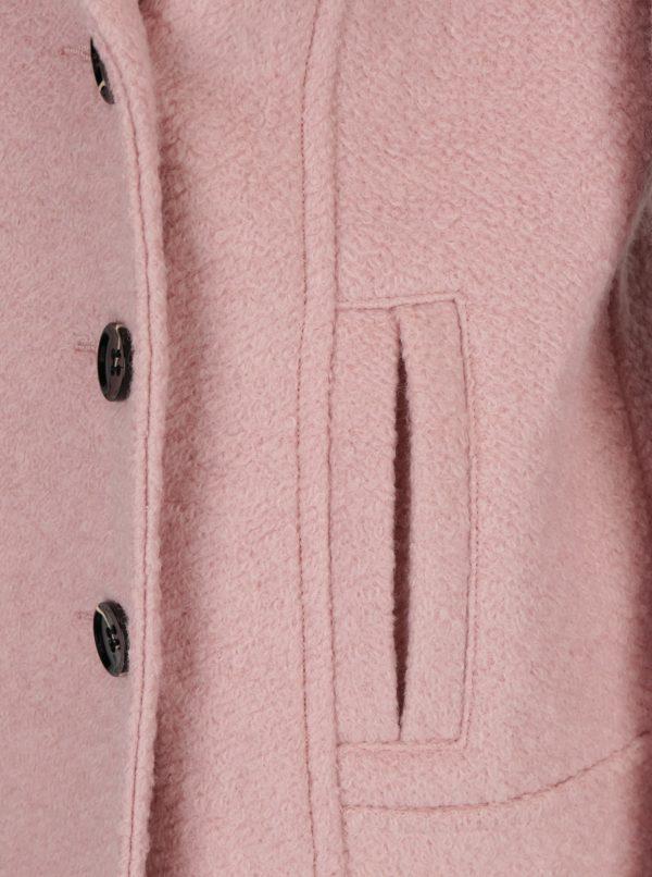 Svetloružový vlnený kabát M&Co
