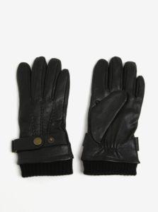 Čierne kožené rukavice Jack & Jones Vintage Victor