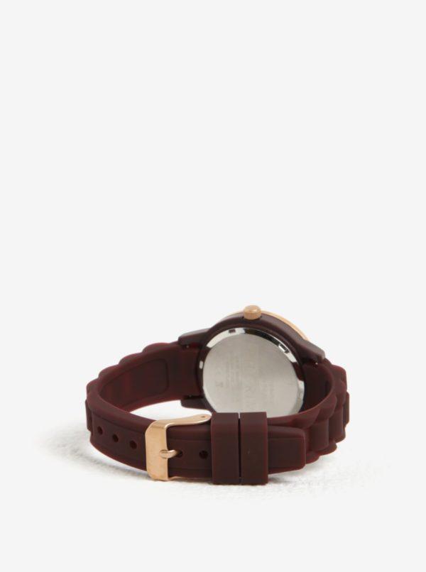 Dámske hodinky v ružovozlatej farbe s vínovým silikónovým remienkom Pilgrim