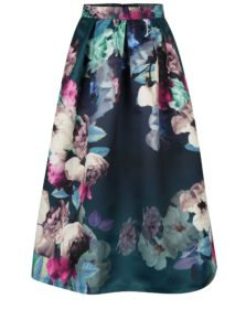 Tmavozelená kvetovaná midisukňa Closet