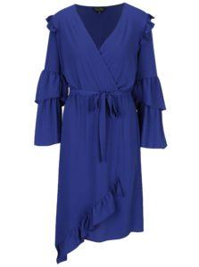Modré asymetrické šaty s prekladaným výstrihom a volánikmi Miss Selfridge