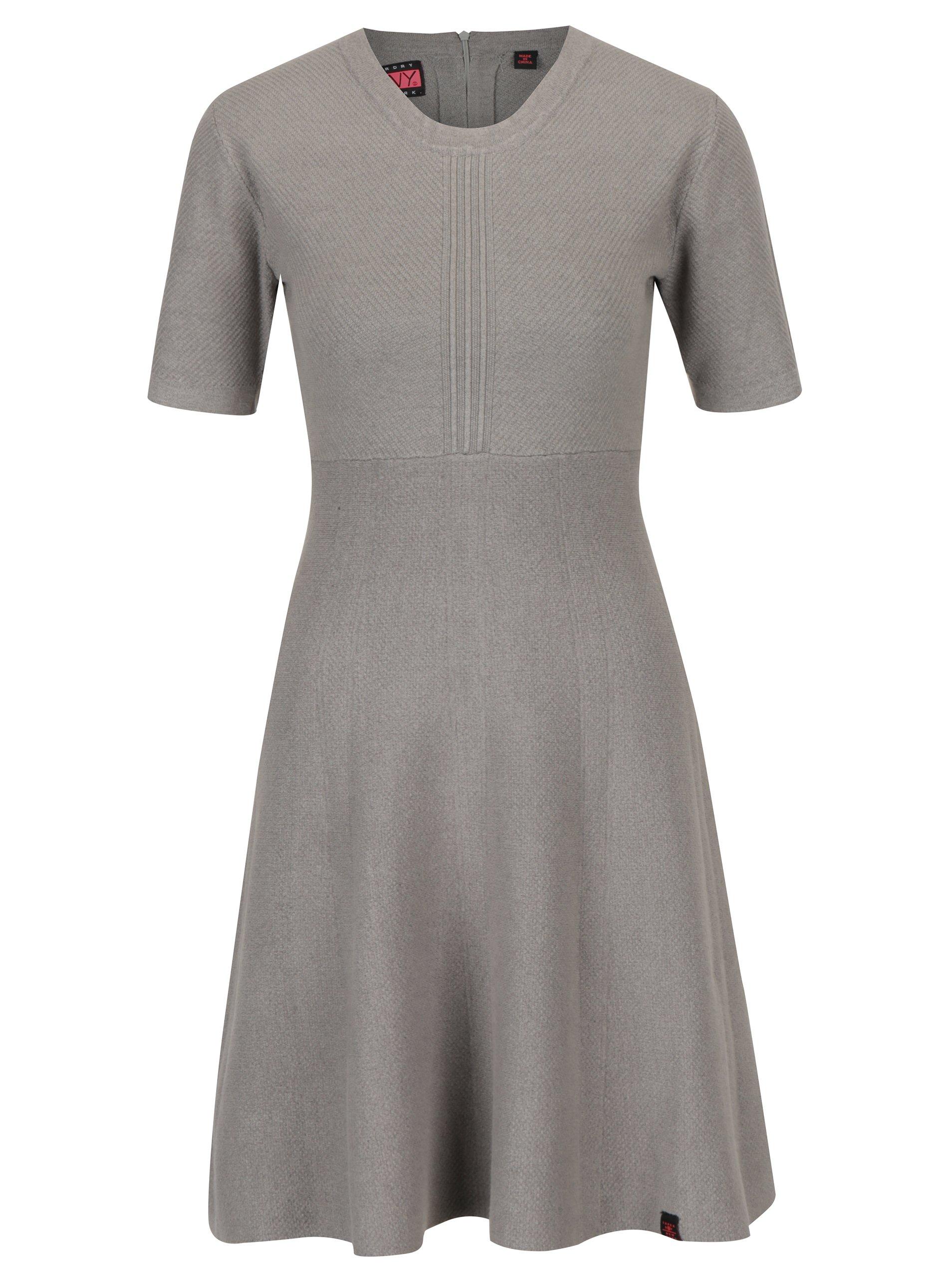 130ff51d5369 Sivé svetrové šaty Superdry Lexi