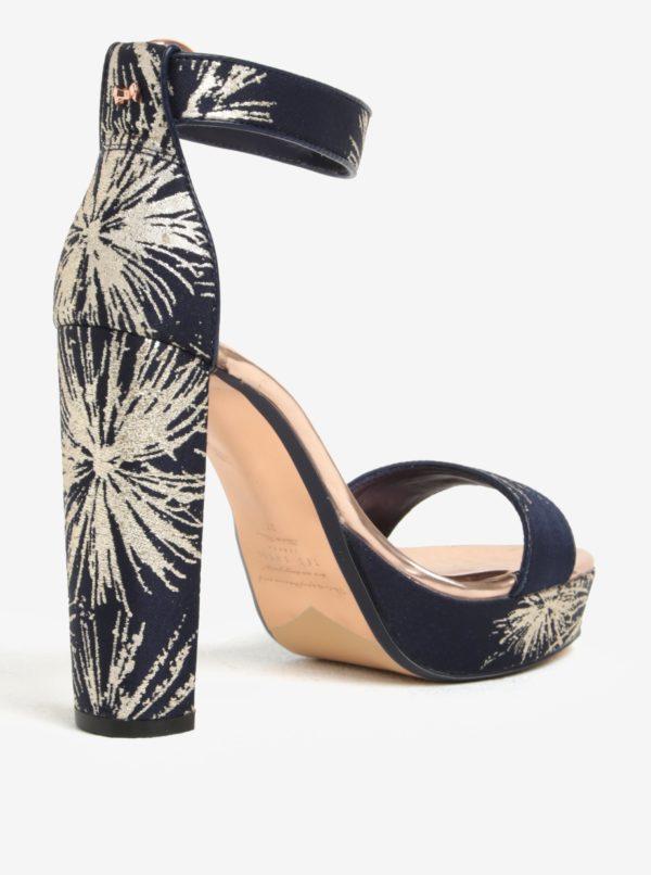 Zlato-modré vzorované sandálky na platforme Ted Baker Jewll