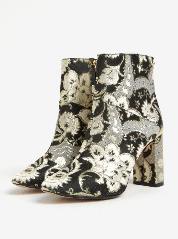 Zlato-čierne vzorované členkové topánky Ted Baker Ishbel