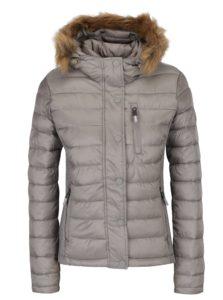 Sivá dámska prešívaná bunda s kapucňou Superdry Luxe